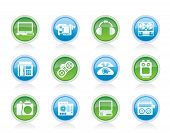 Vector electronics, media and technical equipment icons