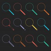 Vector Magnifier Glass and Zoom Icons