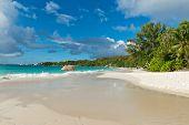 Seychelles Seascape - Enchanting View of Anse Lazio in Praslin Island. A Perfect Tourist Destination