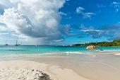 Beautiful Holiday Trip Destination - Anse Lazio Beach in Praslin Island. Captured in Panorama View.