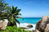 Attraction of Anse Machabee at Famous Mahe Island, Seychelles on a Tropical Summer.