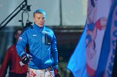 NOVOSIBIRSK, RUSSIA - NOVEMBER 8, 2014: World Champion in MMA Alexander Matmuratov before the fight during the Friendship Cup. The competitions include 10 kinds of martial arts