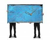 Two Men Holding Old Blue Billboard Isolated On White