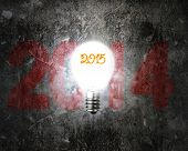 Brightly 2015 Light Bulb Illuminated Dark 2014 Old Concrete Wall
