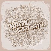 Fun, bright and original birthday greetings, made in the doodle style. Vector.