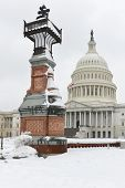 US Capitol Building under snow - Washington DC, United States of America