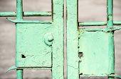 Obsolete metal green painted locks