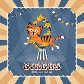 Vintage circus card vector illustration