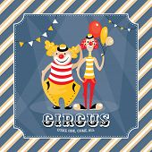 Vintage vector card with clowns