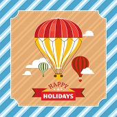 Vintage greeting card with hot air balloons vector illustration