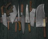 Vintage Knives On The Rack