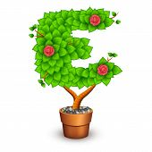 Isolated tree with flowers in clay pot. In the form of letter E
