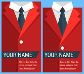 Flat business card template with red jacket