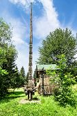 Wood carved column in Maramures