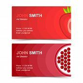 Business card set strawberries garnet