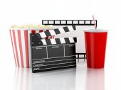 cinema clapper, popcorn and drink. 3d image