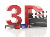 Cinema Clapper And 3D Glasses. 3D Illustration