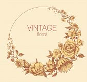 Round floral frame, vintage style vector