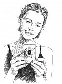 Sketch of Woman taking photo with compact camera, Hand drawn illustration