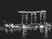 November 12, 2014: Marina Bay Sands hotel at night. Singapore. Vector sketch