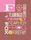 Letter F words typography illustration alphabet poster design