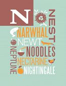 stock photo of nightingale  - Letter N words typography illustration alphabet poster design - JPG