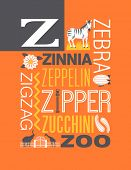 Letter Z words typography illustration alphabet poster design
