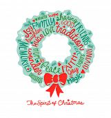 handwritten word cloud Christmas Wreath Holiday Greeting Card