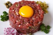 Appetizing Tartare Beef Closeup Horizontal Top View