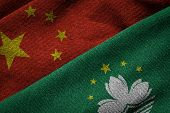 Flags Of China And Macau On Grunge Texture