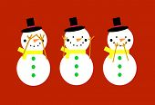 pic of evil  - Snowmen on a red background doing see no evil - JPG