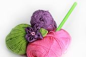 Knitting Accessories - Three  thread On White Background