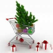 Shopping cart full with christmas balls with fir-tree and gift boxes