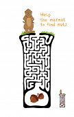 Vector Maze, Labyrinth education Game for Children with Marmot and Nut.