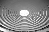Roof of concentric circles in black and white