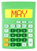 Calculator With May On Display Isolated