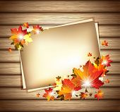 Autumn Foliage with Paper Sheets on Wooden Background - EPS 10