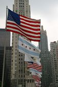 USA-Chicago-Illinois Flags