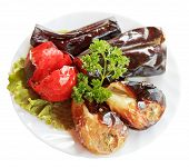 Grilled Vegetables On White Plate Isolated