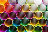 Plastic Drinking Straws Close Up