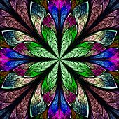 Multicolor Beautiful Fractal In Stained Glass Window Style. Computer Generated Graphics.