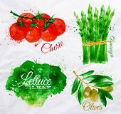 Vegetables watercolor lettuce, cherry tomatoes, asparagus, olives