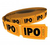 IPO initial public offering acronym letters on a roll of raffle tickets to illustrate the odds for success in pursuing capital through selling stocks or shares in your company