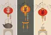 pic of chinese menu  - Three banners for the tea ceremony with Chinese lantern on a background of mountain scenery - JPG