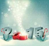 Holiday background with a gift box and 2015. Vector.