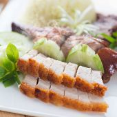 picture of pork belly  - Chinese roasted pork belly served with soy and seafood sauce - JPG