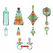 Baby girl shower design icons