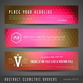 set of three vibrant vector gradient banners based on hexagons