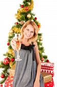 woman  with champagne, Christmas Tree and Gifts