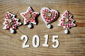 Christmas And New Year 2015 Decoration On Wooden Background